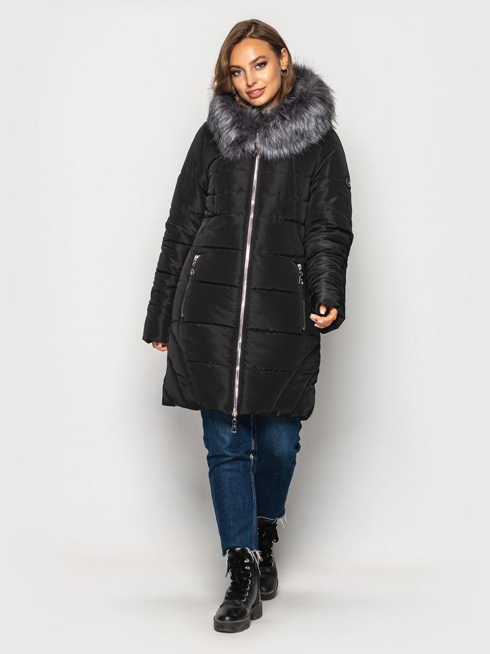 Женская зимняя куртка с мехом стеганая черного цвета, 60