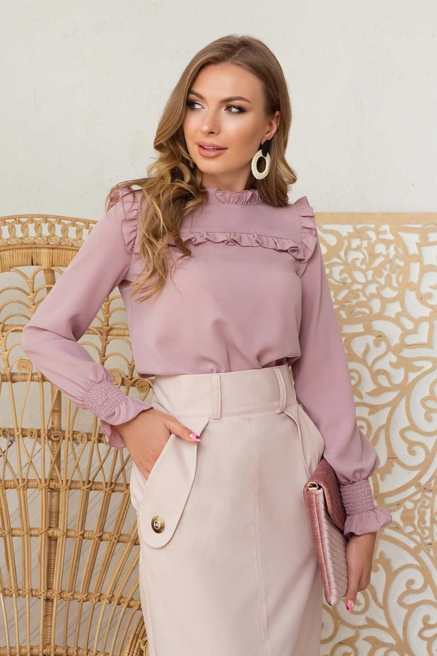 Красивая блузка с длинным рукавом пудра, XL(50)