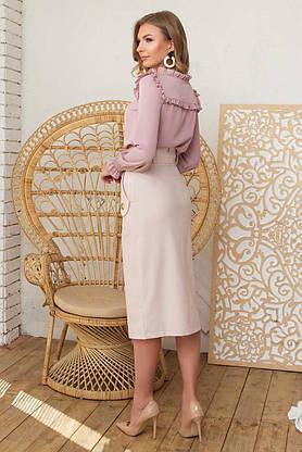 Красивая блузка с длинным рукавом пудра, XL(50), фото 3