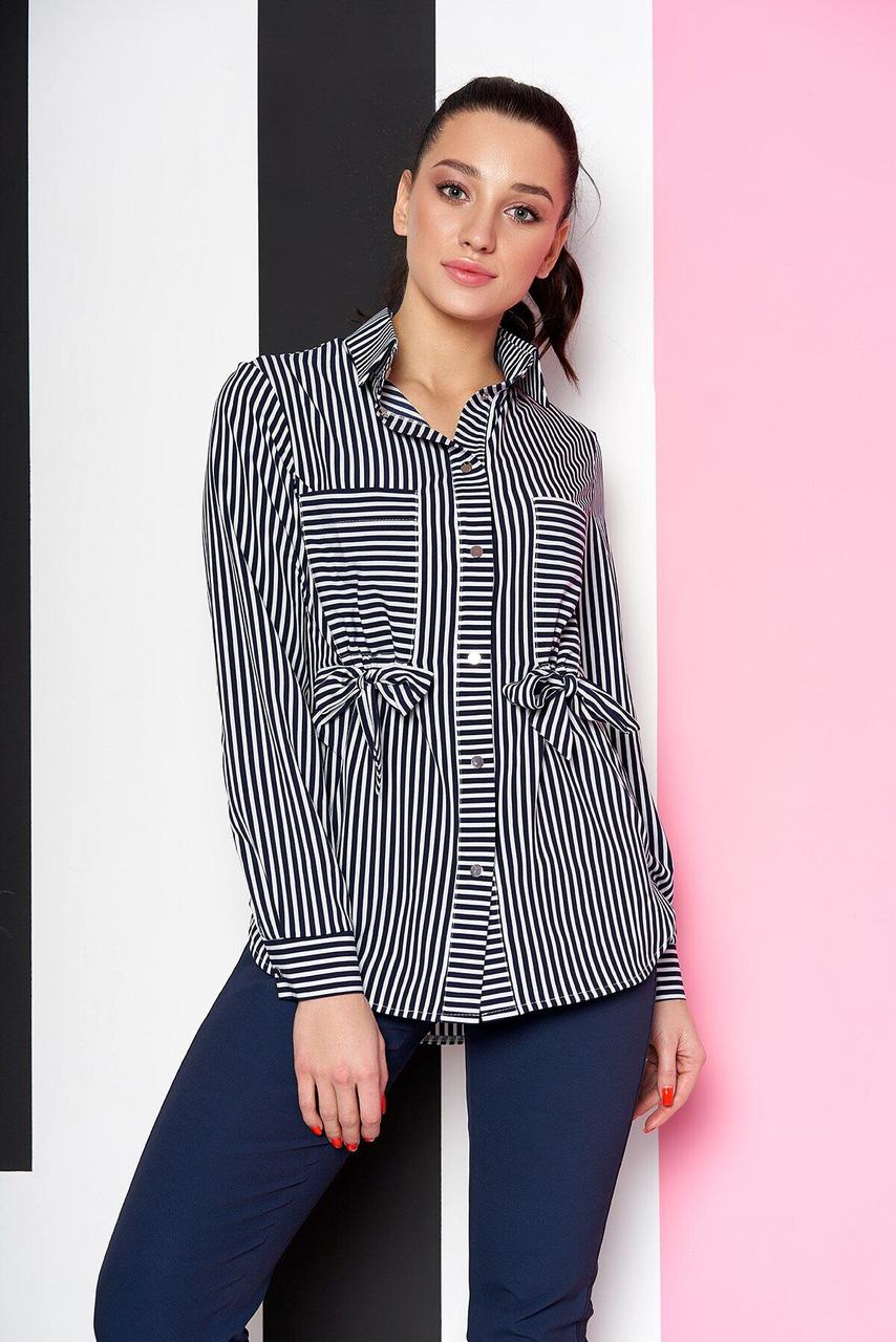 Удлиненная женская рубашка в полоску синяя, 54