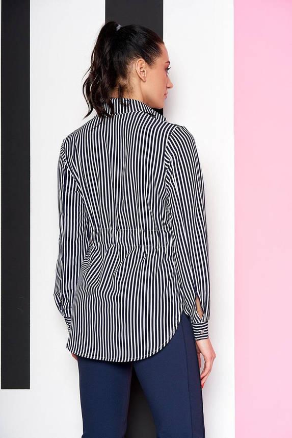 Удлиненная женская рубашка в полоску синяя, 54, фото 2