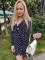 Женское платье ХАЛАТ НА ЗАПАХ С ВОЛАНОМ ПОД ПОЯС, ТКАНЬ ШТАПЕЛЬ КОТОН(42-48), фото 1