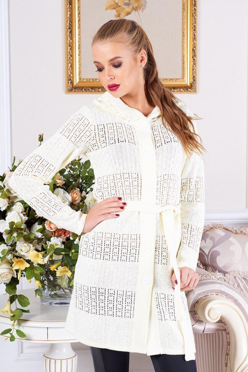 Красивый женский вязаный кардиган белый, XL(50)