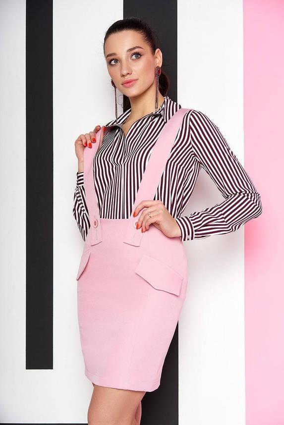 Юбка мини с подтяжками розовая, XL(50), фото 2
