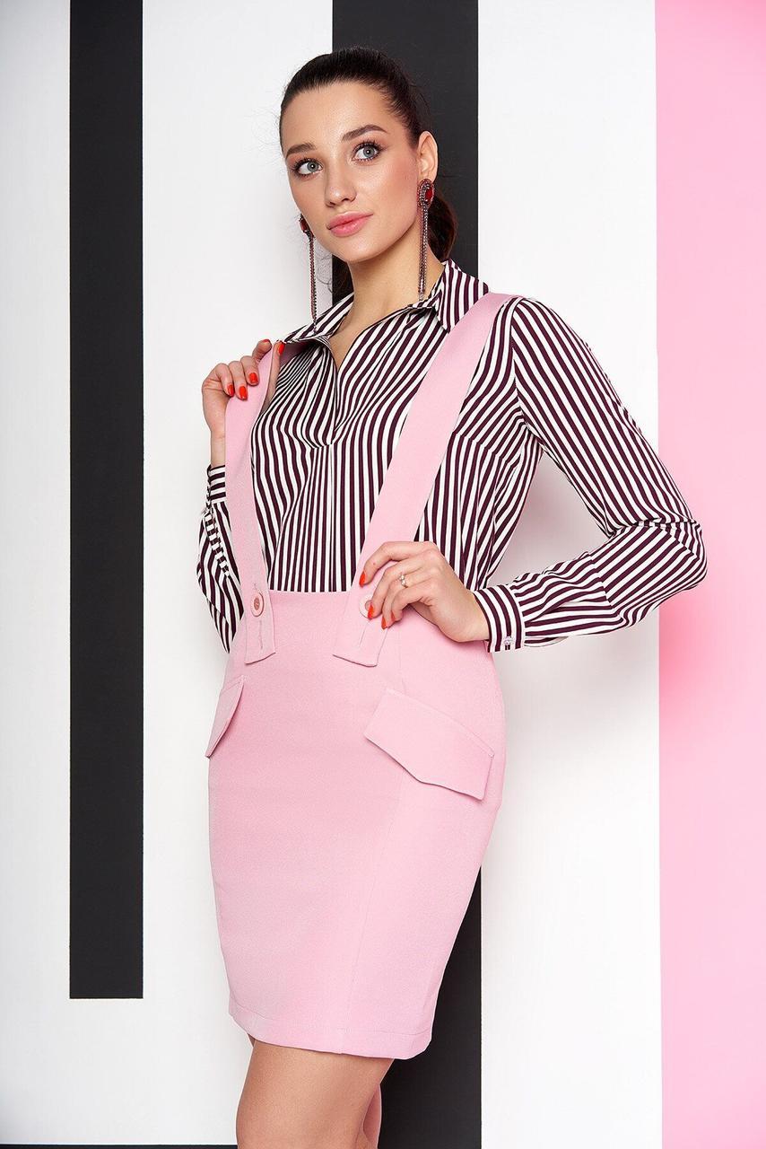 Юбка мини с подтяжками розовая, XL(50)