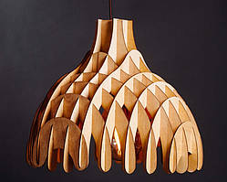 Люстра деревянная СОНЦЕ by smartwood | Люстра лофт | Дизайнерский потолочный светильник EBONY, BLACK