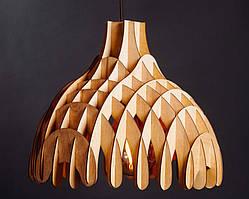 Люстра деревянная СОНЦЕ by smartwood | Люстра лофт | Дизайнерский потолочный светильник EBONY, WHITE