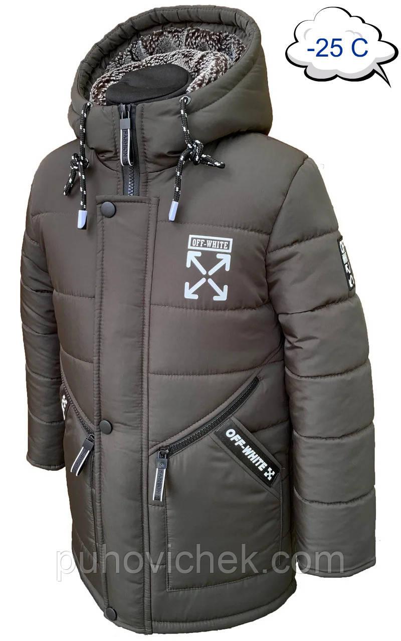 Удлиненная зимняя куртка для мальчика на овчине размеры 110-150