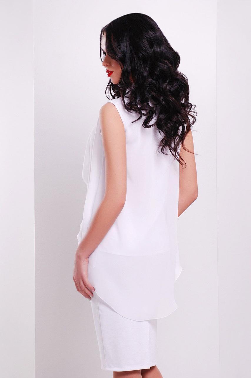 Летняя белая блузка в офисном стиле, XL(50)