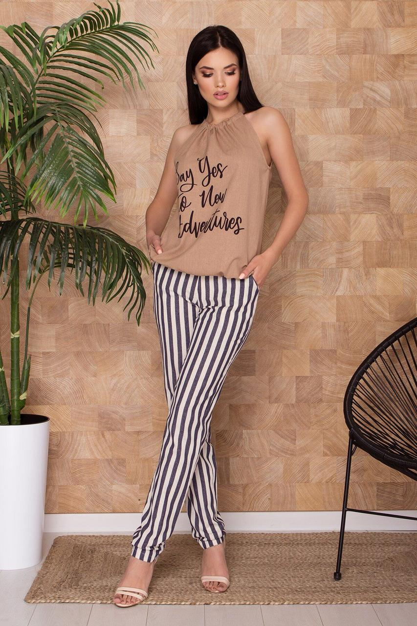 Літні лляні штани в смужку, XL(50)