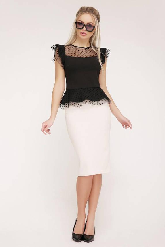Летняя блузка с баской черного цвета, XL(50), фото 2
