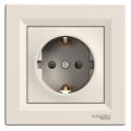 Розетка с заземлением и защитными шторками Asfora крем, EPH2900223