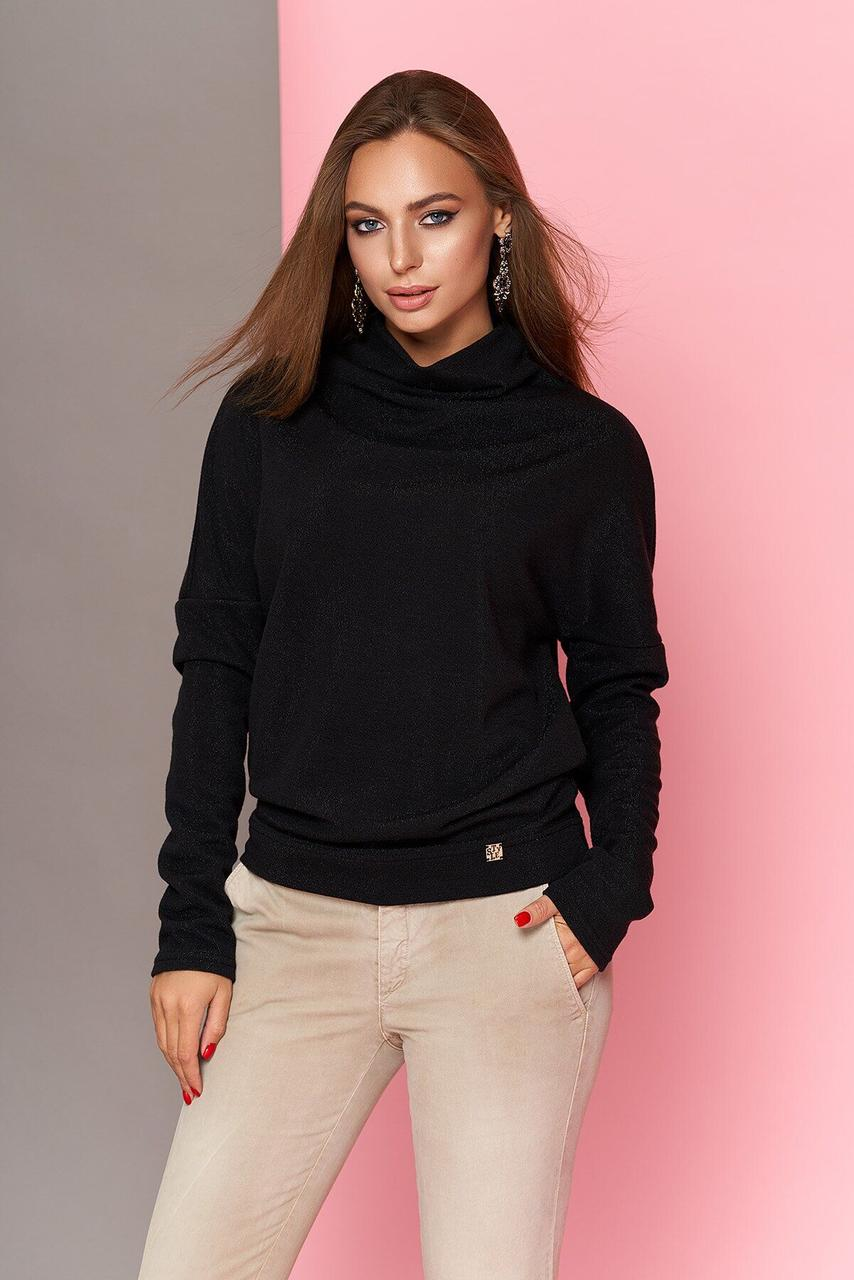 Модная женская кофточка с блеском черная, XL(50)