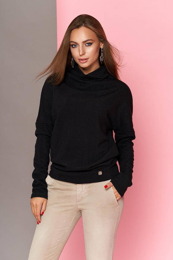 Модная женская кофточка с блеском черная, XL(50), фото 2