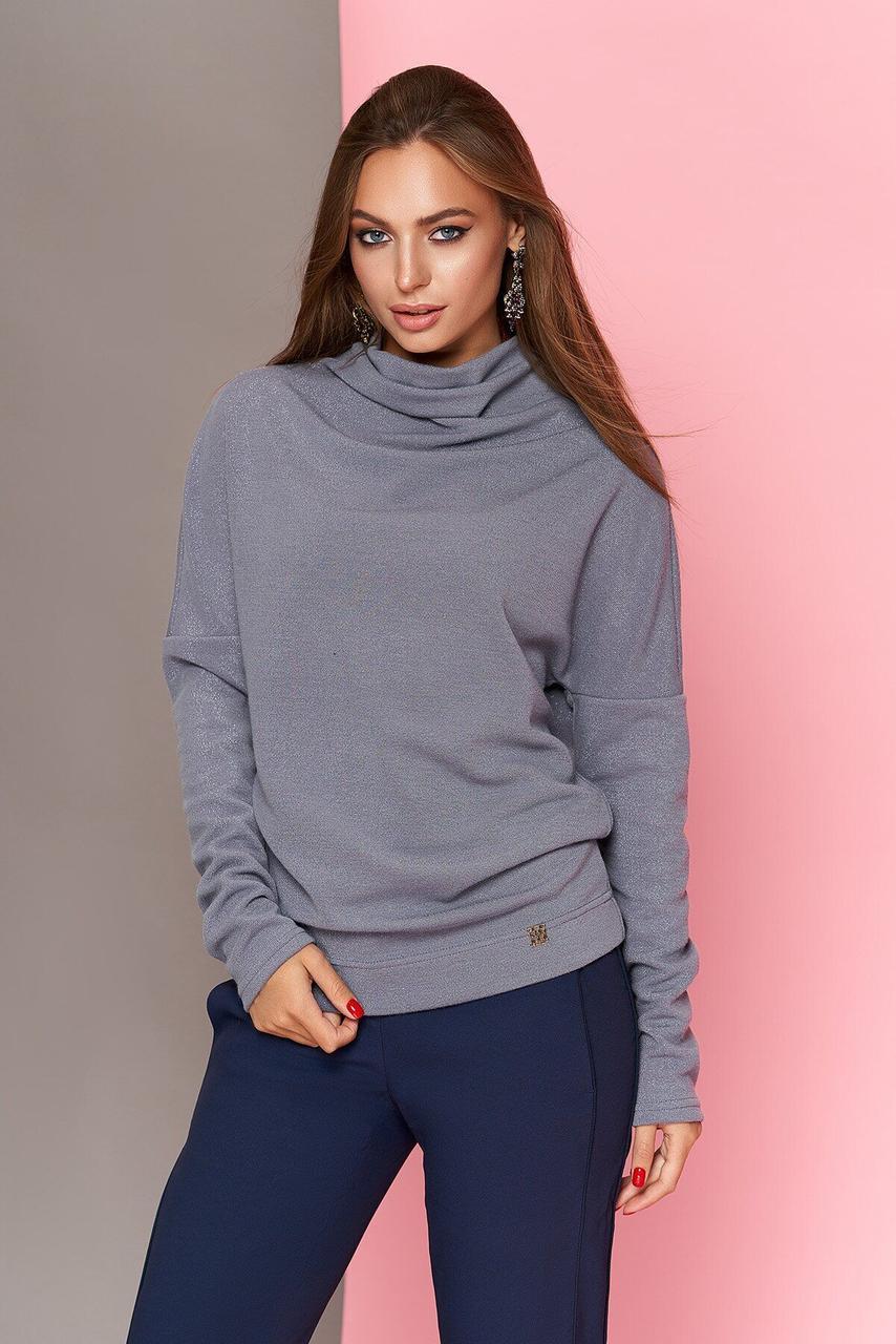 Модная женская кофточка с блеском серая, XL(50)