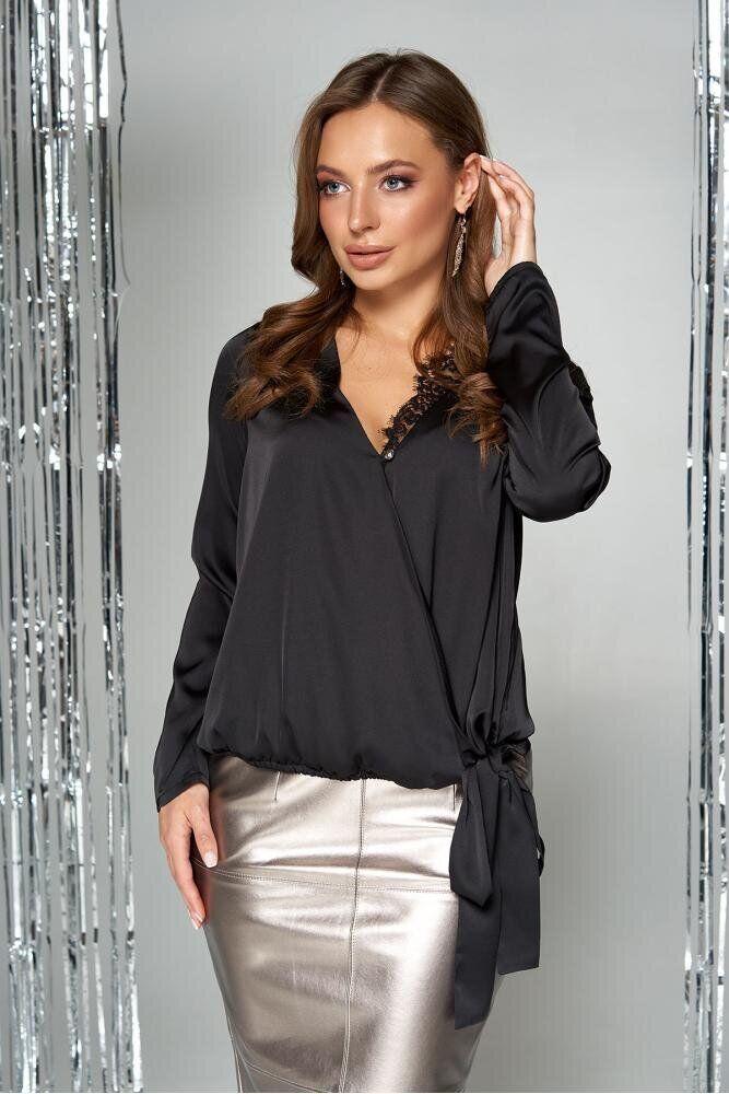Вечерняя шелковая блузка с кружевом черная, 54