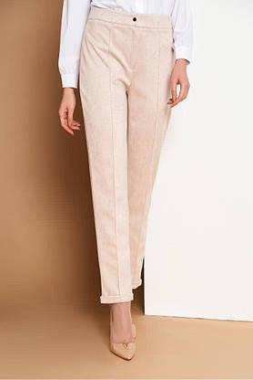 Женские замшевые брюки со стрелками в деловом стиле, 54, фото 2