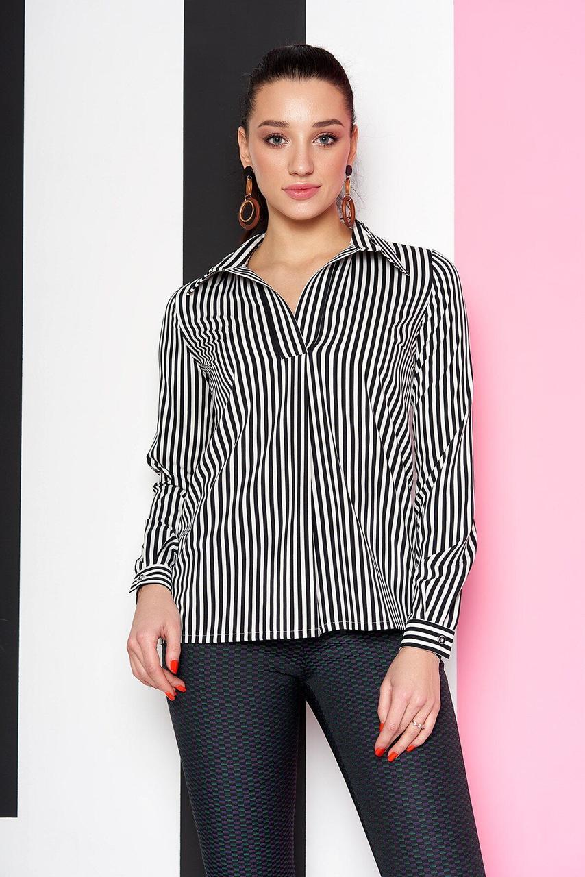 Офисная блузка в черную полоску, XL(50)