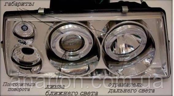 Передние фары на ВАЗ 2109 в хроме (Ангельские глазки) с корейскими лампами+диодами на габариты!