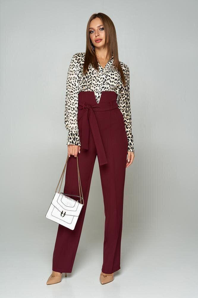 Жіночі брюки з високою посадкою бордові прямі, 54