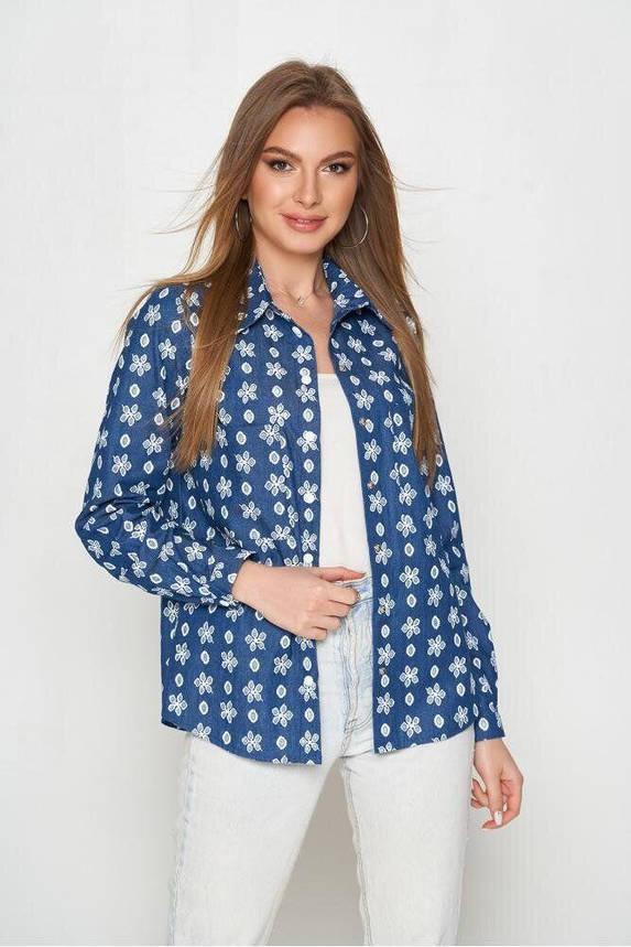 Женская рубашка из хлопка с перфорацией синяя, 52, фото 2