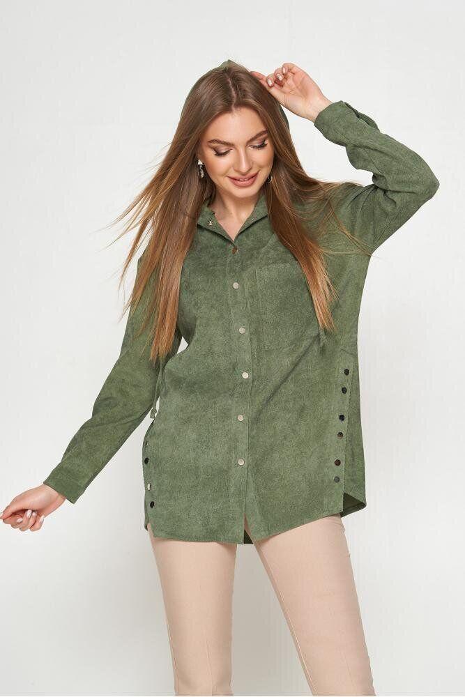 Стильная вельветовая рубашка с капюшоном оливковая, L(48)