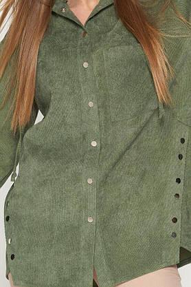 Стильная вельветовая рубашка с капюшоном оливковая, L(48), фото 2