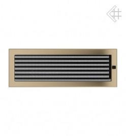 Вентиляционная решетка для камина KRATKI 17х49 см золотая гальванизированная с жалюзи