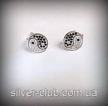 2052 Серьги Инь Янь серебро 925 пробы от украинского производителя