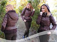 Куртка трансформер пуховик жилетка коричневая
