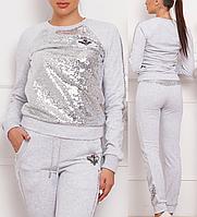 Турецкий фабричный стильный женский спортивный костюм с паеткой №8884 серый
