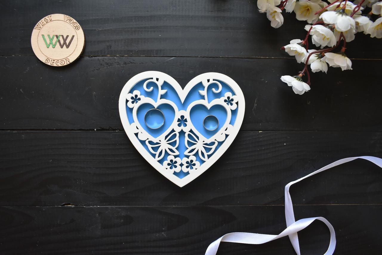 """Подставка из дерева для обручальных колец в виде сердца """"Ажурная"""""""