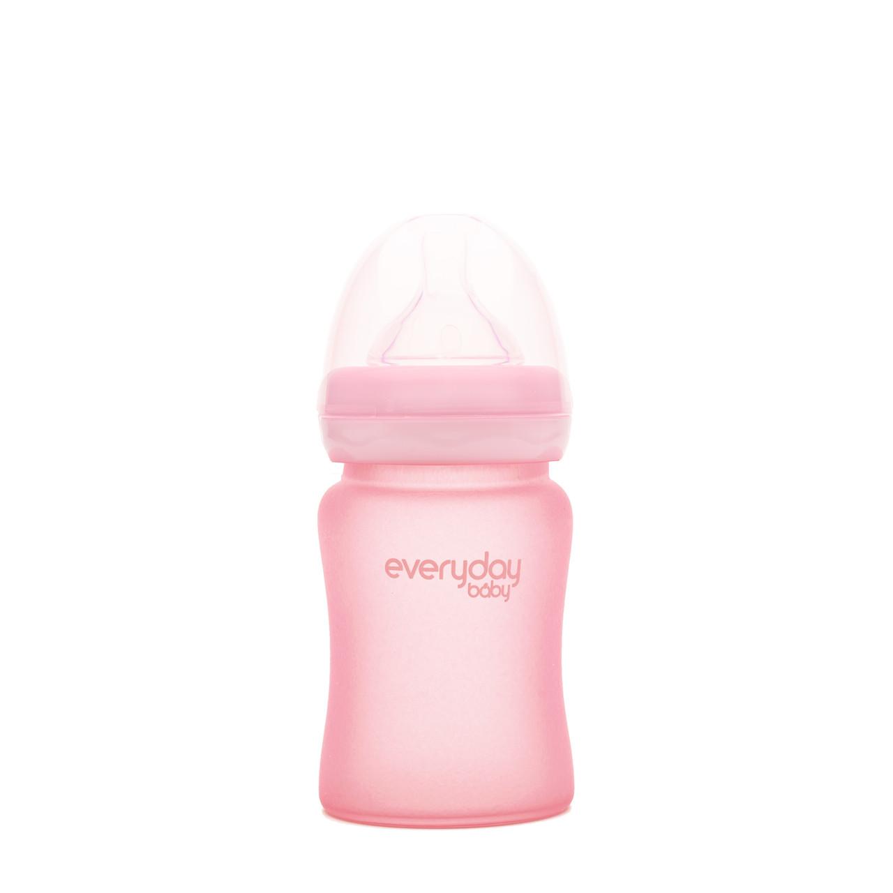 Скляна дитяча пляшечка з силіконовою захистом Everyday Baby 150 мл Колір рожевий