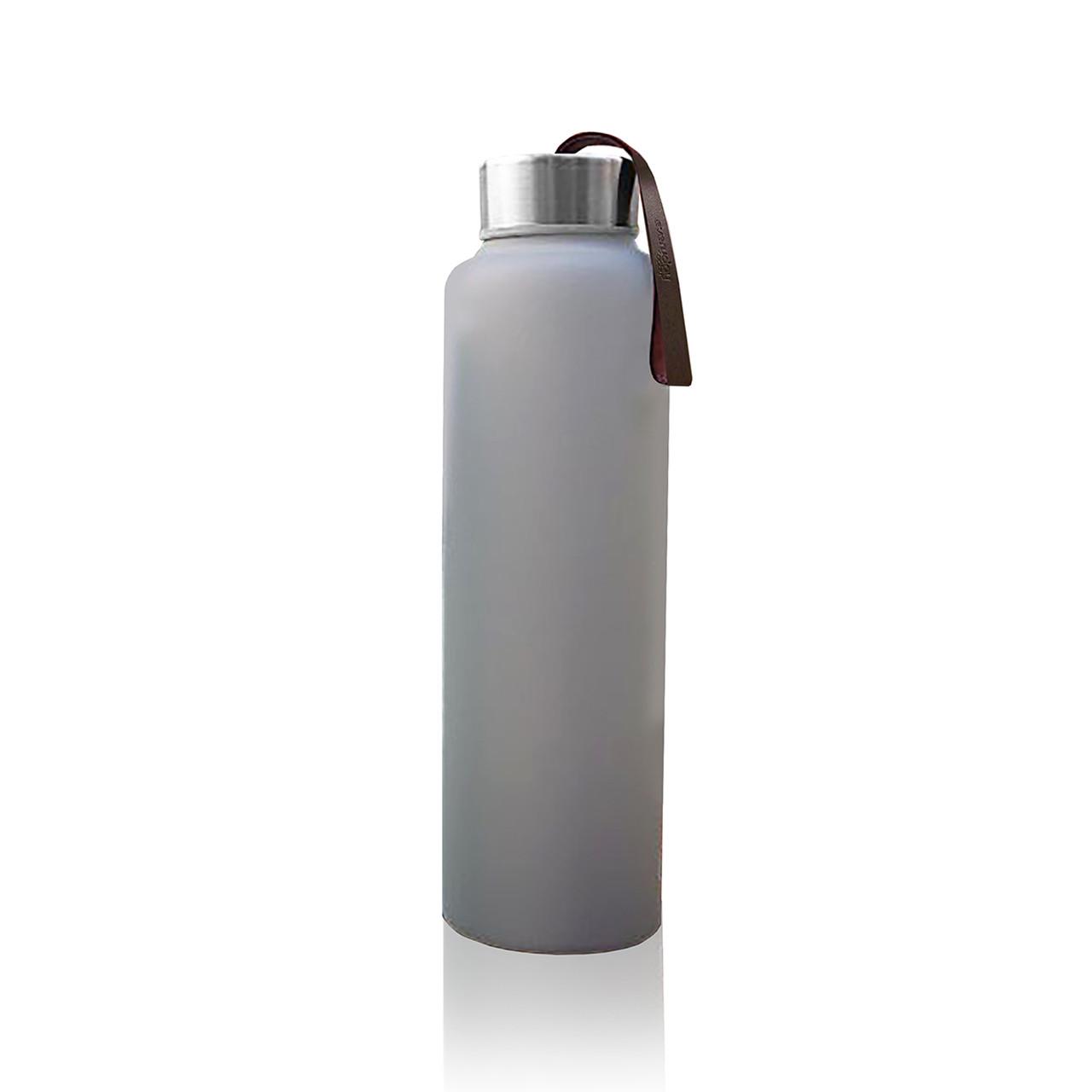Стеклянная бутылка для воды с силиконовой защитой Everyday Baby 400мл. Цвет светло-серый