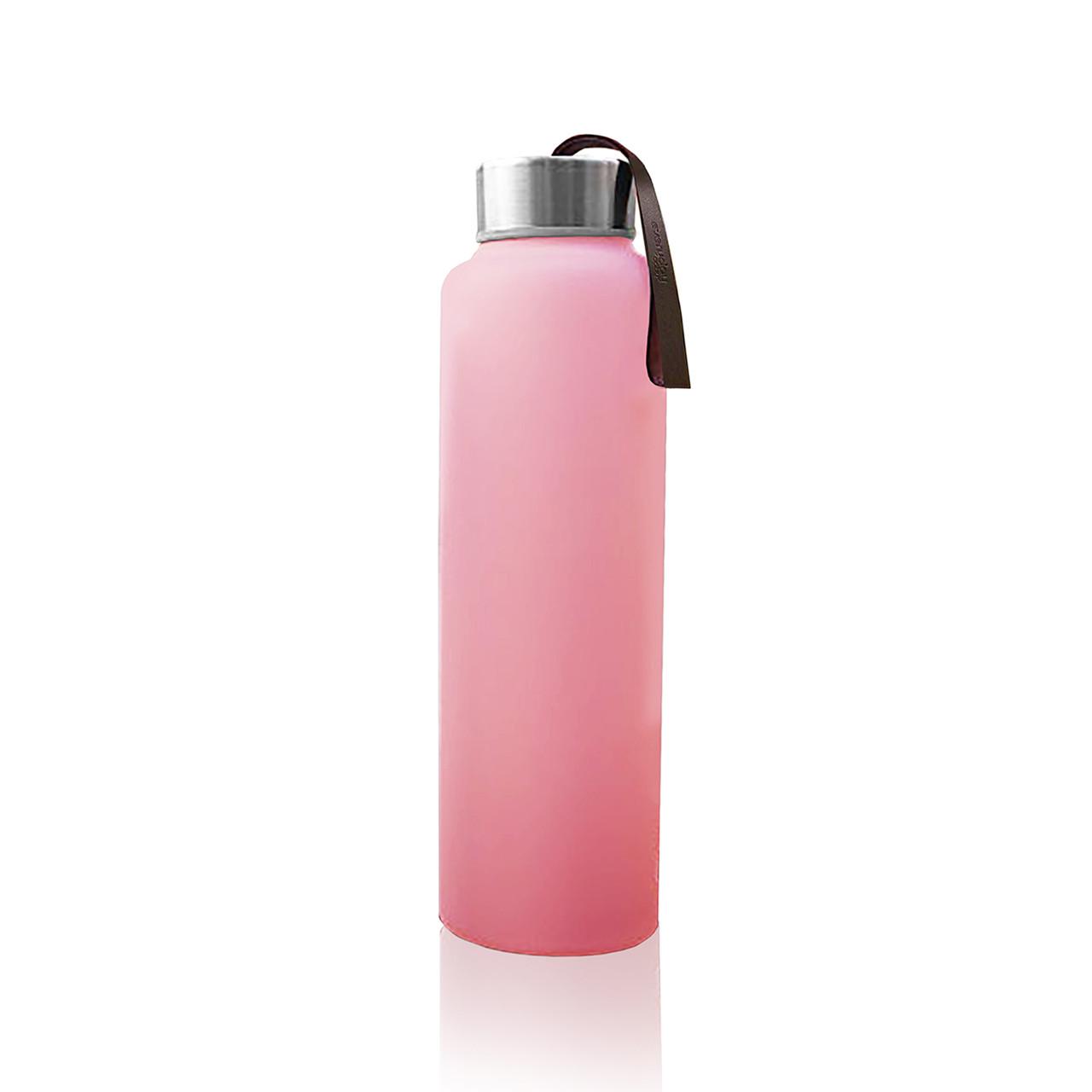 Скляна пляшка для води з силіконовою захистом Everyday Baby 400мл. Колір рожевий
