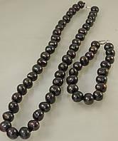 Набор из жемчуга, цвет черный, фото 1