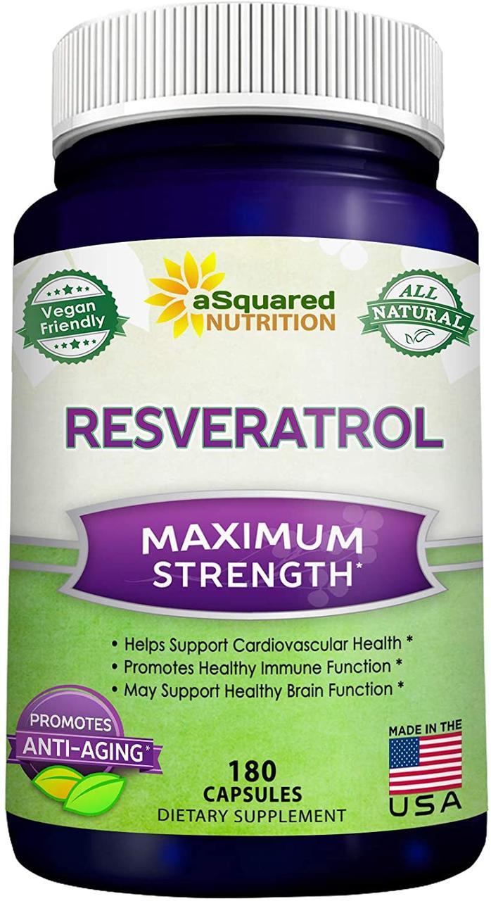 100% натуральный ресвератрол, аSquared Nutrition, 500 мг, 180 капсул