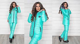 Тёплый женский лыжный зимний костюм куртка на овчине и штаны на синтепоне Мята