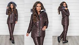 Тёплый женский лыжный зимний костюм куртка на овчине и штаны на синтепоне Шоколад
