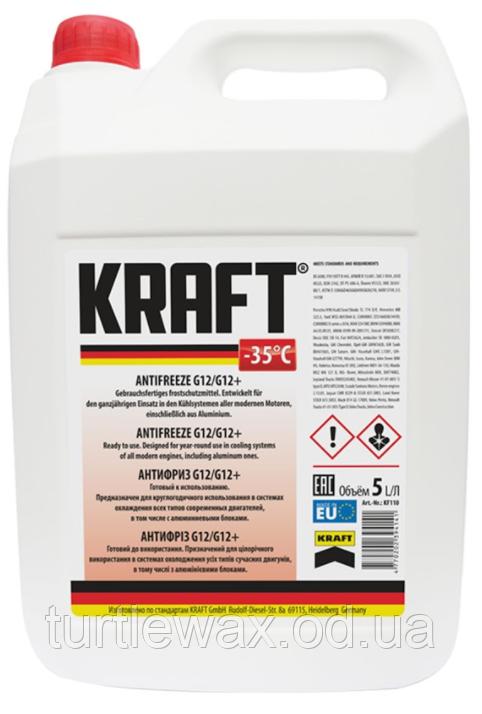 Антифриз KRAFT G12/G12+  -35°C красный, 5л