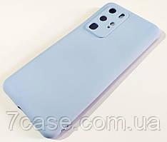 Чехол для Huawei P40 Pro матовый Silicone Case Full Cover Macarons Color Голубой
