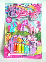 """Набір ксилофон + 3 шт конячки поні,набір """"My little pony"""""""