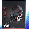 Комп'ютерні провідні ігрові навушники з микрофном, регулятором гучності і 3-я підсвічуваннями A6, фото 4
