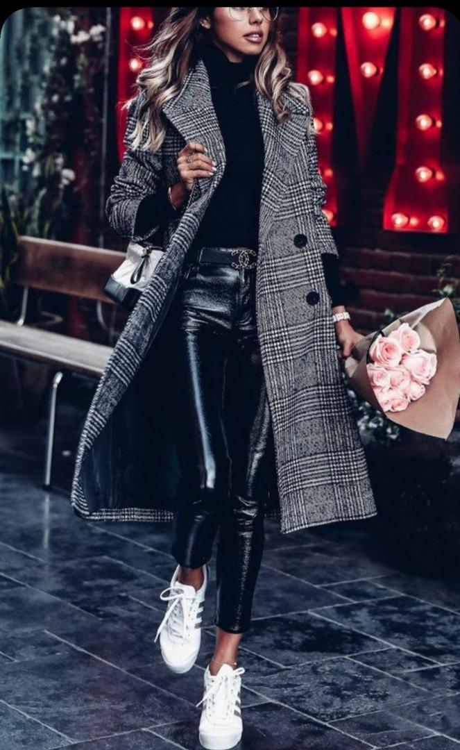 Пальто из кашемира на пуговицах,  с длинным рукавом, длиной по колено (42-46)