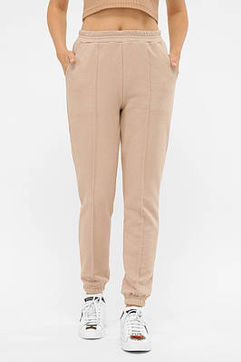 Жіночі бежеві трикотажні спортивні штани