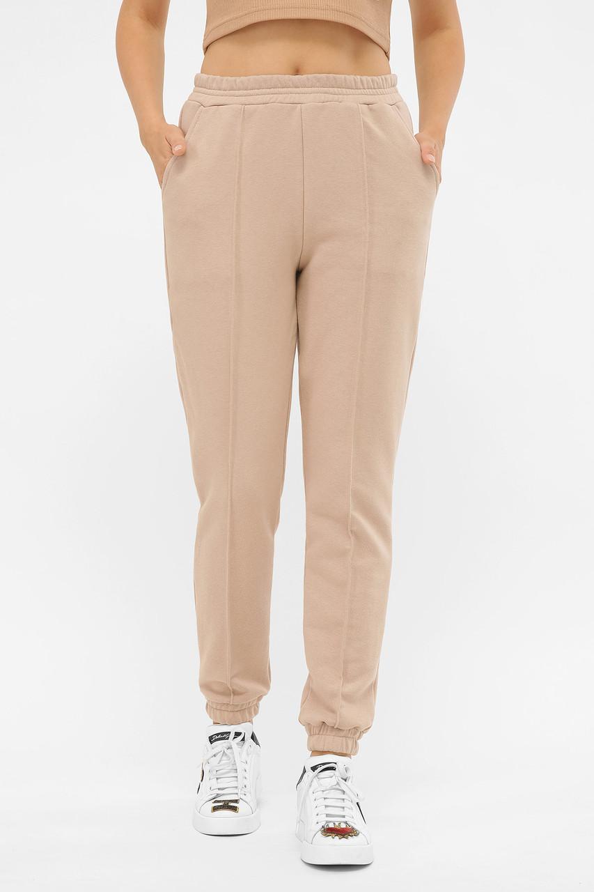 Женские бежевые трикотажные спортивные брюки