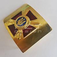 Бляха/ Пряжка сухопутных войск латунная ЗСУ/ВСУ красный крест