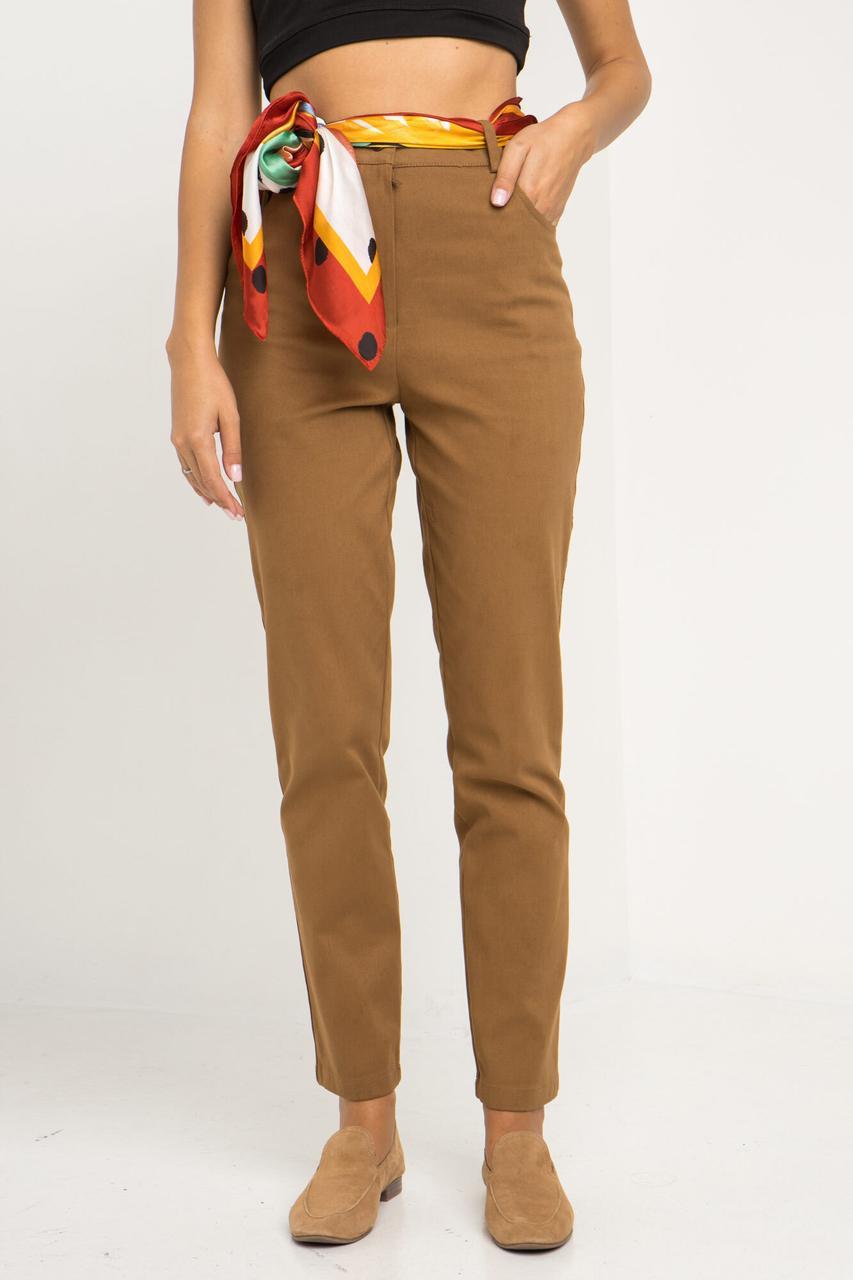 Высокие джинсовые брюки VIVID прямые рыжего цвета