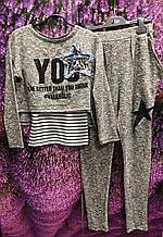 Дитячий спортивний костюм для дівчинки MARIONS Туреччина 5577 01 Сірий весняний осінній демісезонний