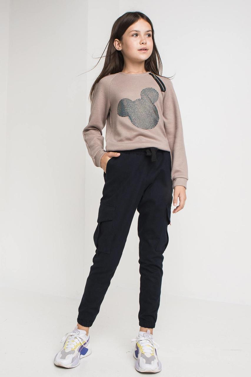 Детские джинсовые брюки карго CODE-D зауженные на манжетах с большими карманами